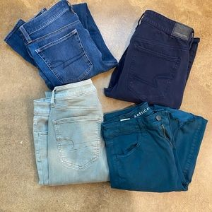 Lot of 4 Womens American Eagle skinny  Size 8 L